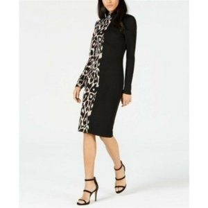 Bar III Leopard Sweater Dress, Black, Size L/XL